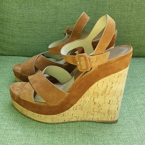 Michael Kors Collection suede cork wedge sandal.